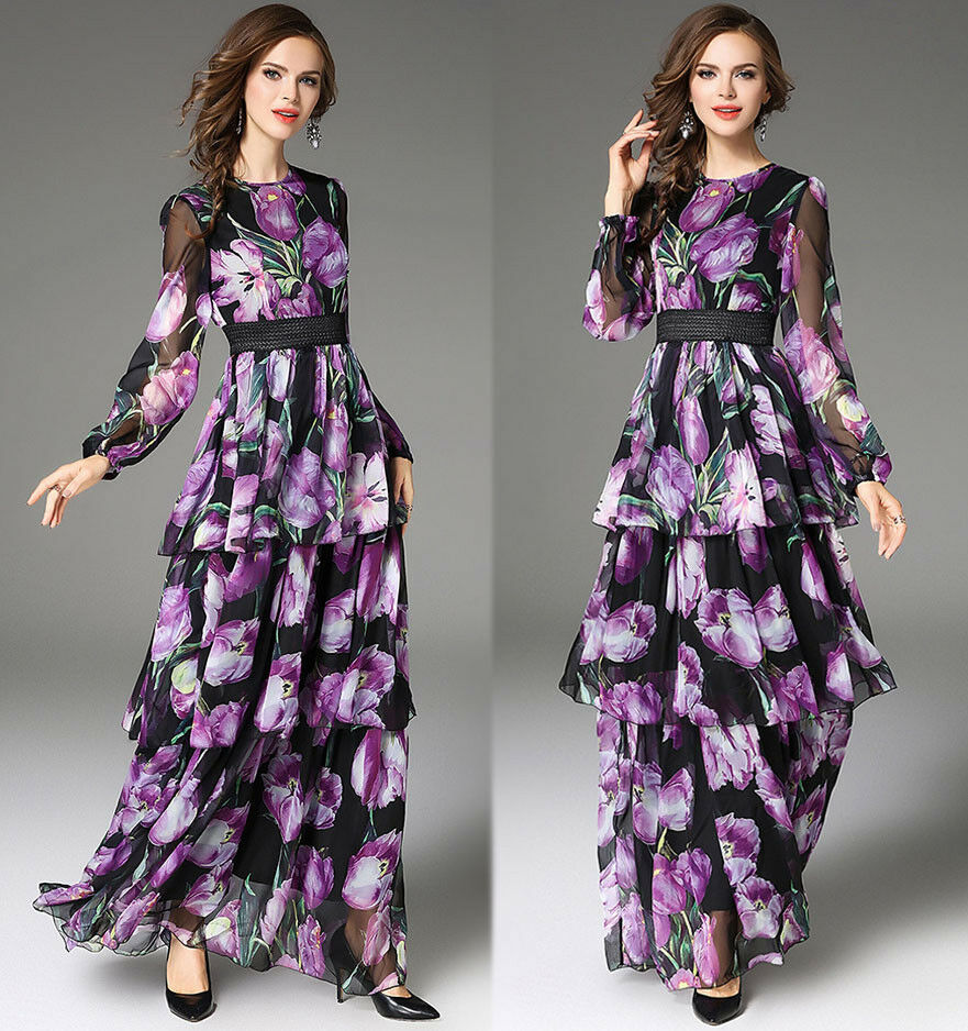 2018 Spring womens stylish temperament printing High Waist layered dress long