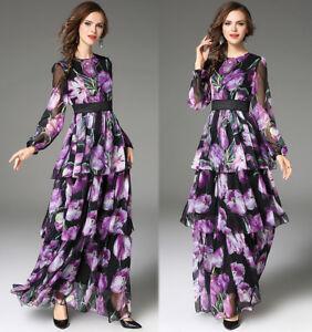 2018-Spring-women-fashion-temperament-floral-print-High-Waist-layered-dress-long