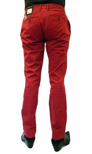 RASPBERRY h163 SALE FARAH 1920 /'THE FRANK/' RETRO CLASSIC FIT CHINO TROUSERS