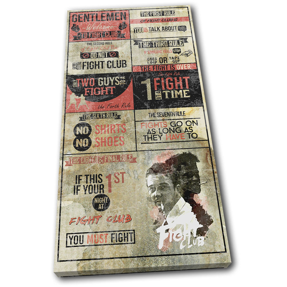 Boxing fight club rules hobbies single toile wall art photo print