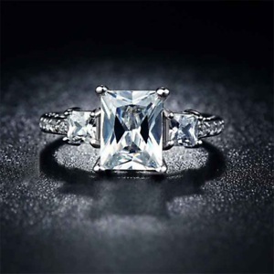 1-75Ct-Radiant-Cut-Diamond-Accent-Solitaire-Engagement-Ring-18K-White-Gold-Over