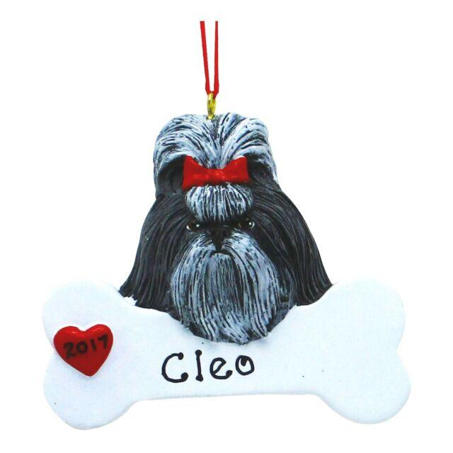 PERSONALIZED Dog Ornament Shih Tzu Cute Black Puppy ...