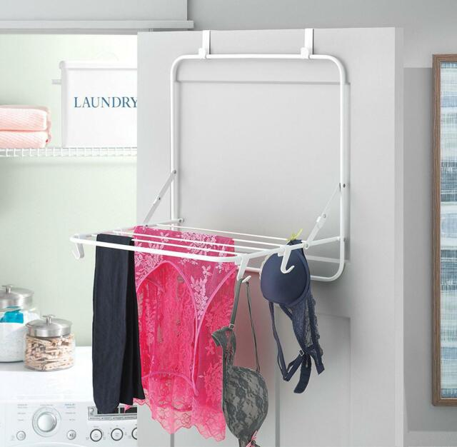 Clothes Drying Rack Laundry Compact White Metal Over The Door Space Saving Room