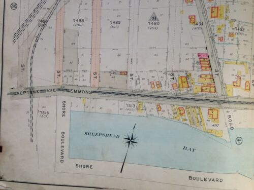 1907 SHEEPSHEAD BAY EMMONS AVENUE BROOKLYN NY EAST 13TH-E25TH STREET ATLAS MAP
