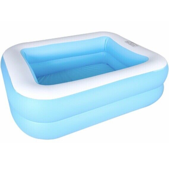 Kids Inflatable Swimming Pool - Blue White Square 2 Ring Above Ground - 43x35x13