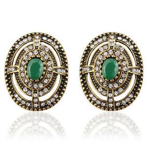 Luxury-Vintage-Style-Antique-Gold-amp-Dark-Green-Stone-Oval-Stud-Earrings-E1110