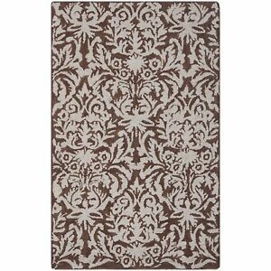 Damask Brown / Grey Wool Area Rug