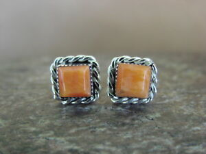 Native American Sterling Silver Orange Square Spiny Oyster Post Earrings Zuni