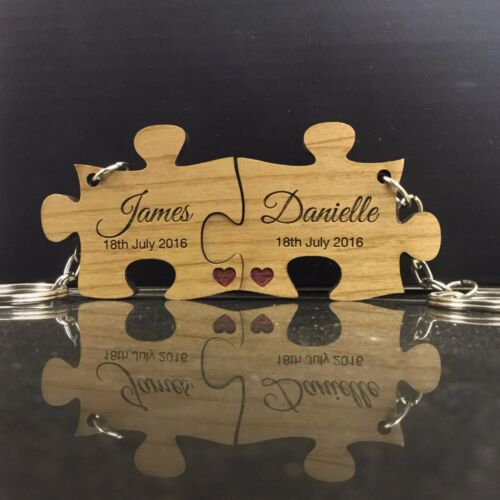 Personalised Anniversary Wedding Gift 2 Piece Jigsaw Keyrings Solid Wood Keyring
