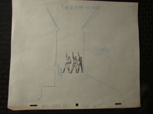 1960's SUBMARINER TV Animation Cartoon Production Art Sc52OL 3 Policemen