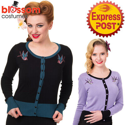 RKN21 Banned Twisted 50s Style Swallow Tattoo Rockabilly Cardigan Pin Up Retro