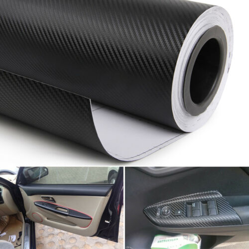 "12/""x50/"" 3D Car Interior Accessories Board Black Carbon Fiber Wrapper Sticker"