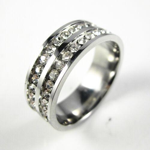 316 L acier inoxydable double rangée Clair Zircone cubique De mariage 7 mm Band Ring Taille 5-10