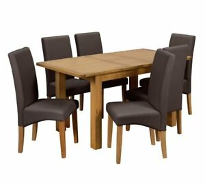 Details About Ashwell Extendable Dining Table 6 Chairs Choice Of Colour