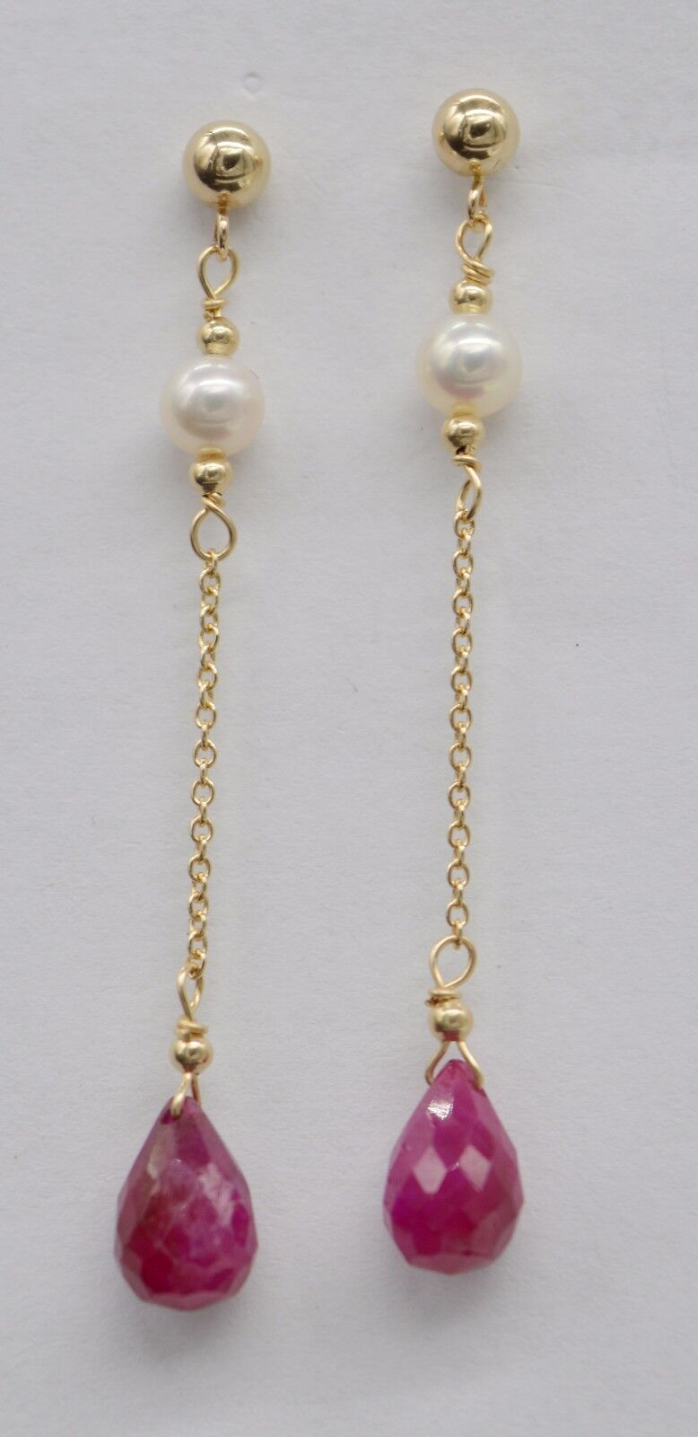 BE-148 New 14K Solid gold Natural Ruby with Cultured Pearl Long Drop Earrings