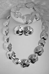 3-tlg-Schmuckset-Collier-Kette-Armband-Ohrringe-Silber-Metall-NEU-TOP-A