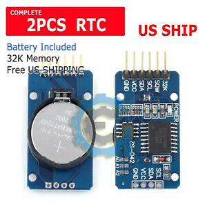 2X-DS3231-AT24C32-IIC-precision-Real-time-clock-RTC-memory-module-For-Arduino