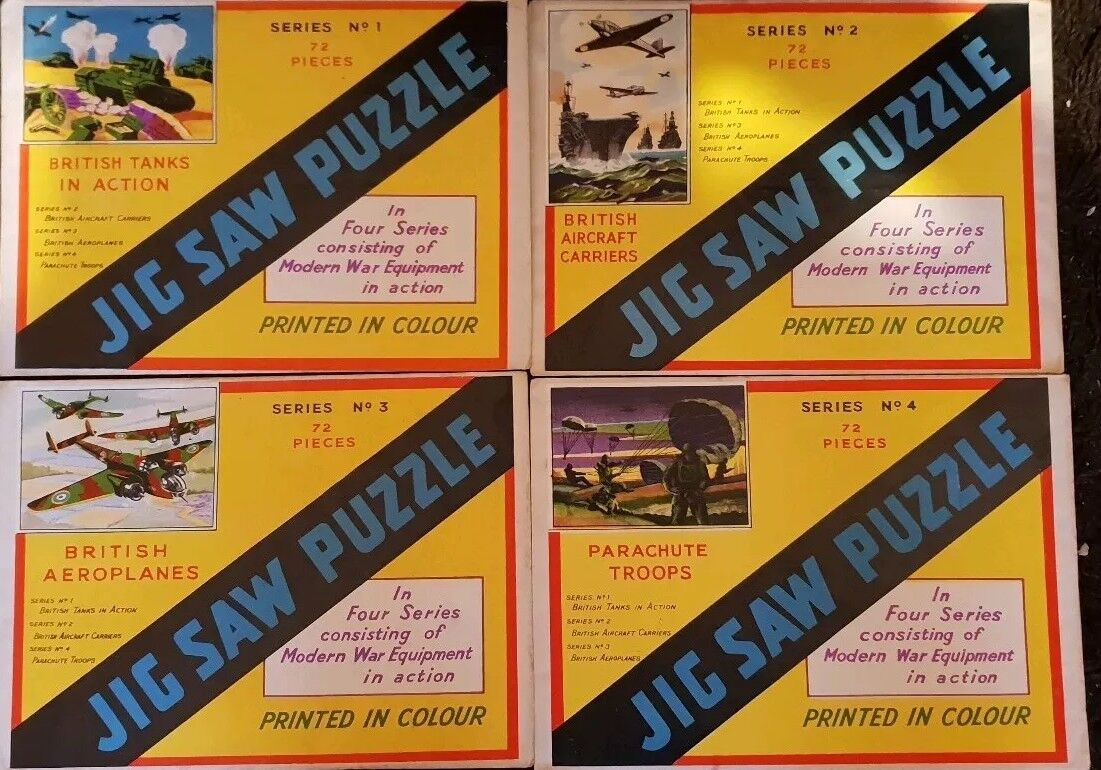 Vintage Set Of 4 New War Jigsaw Puzzles 1940-50s