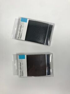 New-Business-Card-holder-Black-amp-Brown-Faux-Leather-holds-15-magnet-flap