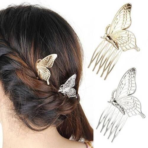 Fashion Style femmes filles Alliage Papillon Cheveux Peigne Coiffure