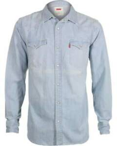Levi-039-s-Men-039-s-Standard-Barstow-Western-Long-Sleeve-Washed-Denim-Shirt-Size-XL