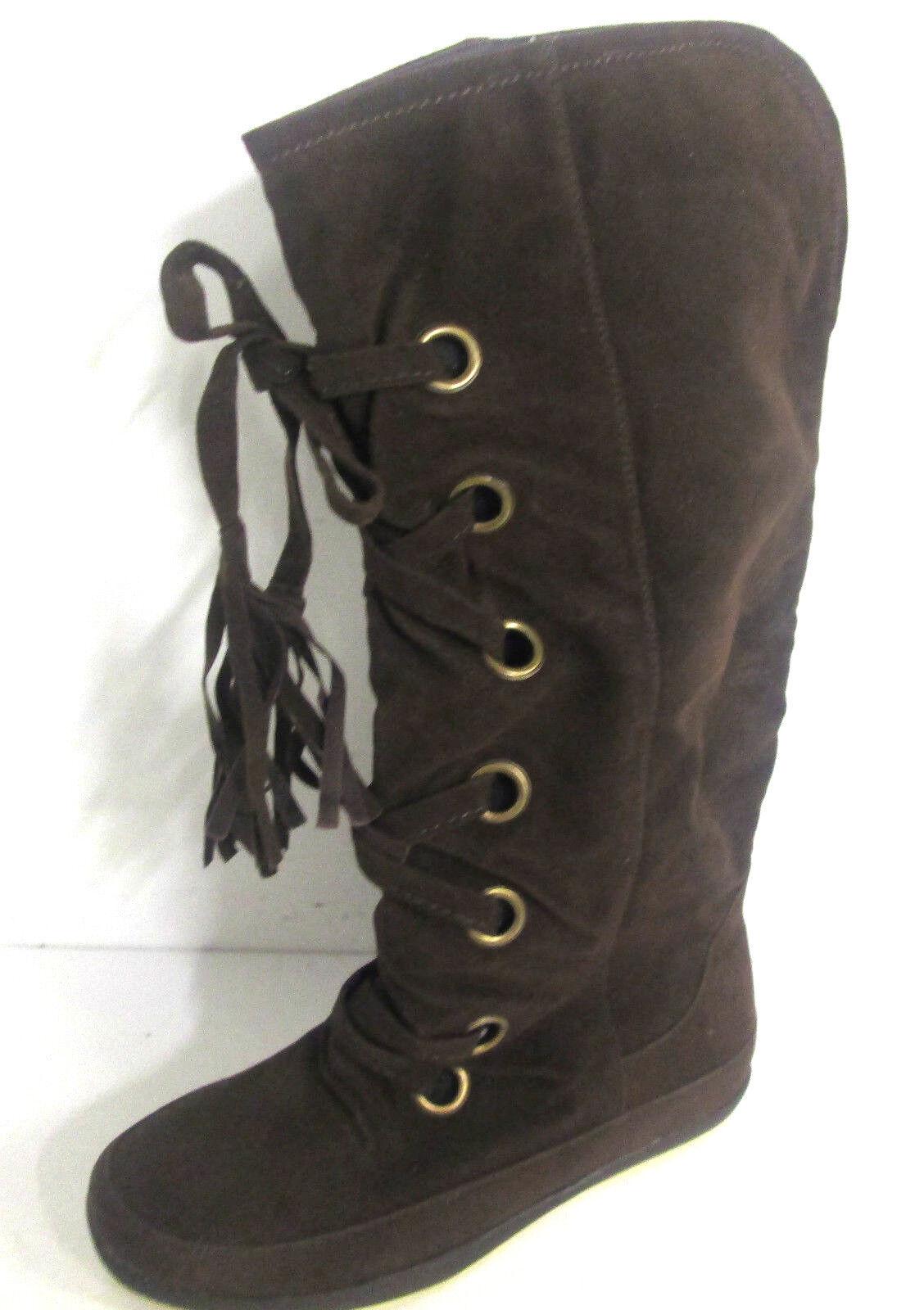 Ladies Spot On Dark Brown Textile Knee High Boots with Tassels - F4294