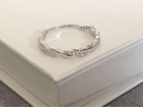 925 Sterling Silver Braid Twist Ring Clear Cubic Zirconia Size J K L M N O P