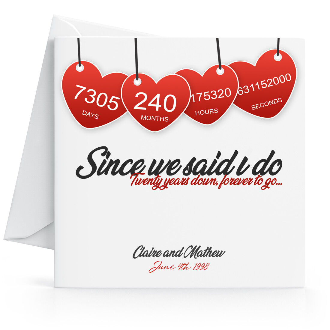 Details about Personalised 8th Wedding Anniversary Card with Printed  Hearts Twentieth Year