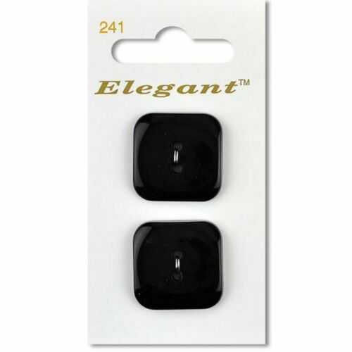 2 Per Card Black 28mm Square Gloss Buttons Sewing Craft Knitting 2 Hole