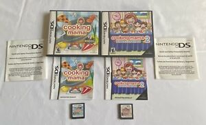 Nintendo-DS-Cooking-Mama-amp-Cooking-Mama-2-Dinner-with-Friends-Game-Lot-COMPLETE