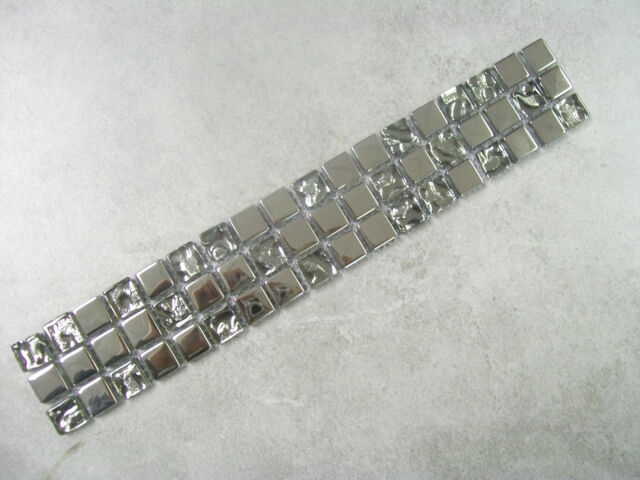4 x GLASS MOSAIC BORDER TILES - QUBIC CHROME MIRROR EFFECT - 8MM THICK