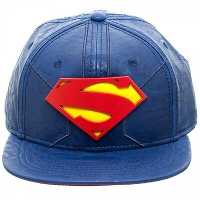 STUNNING OFFICIAL DC COMICS SUPERMAN METAL SYMBOL PU SNAPBACK CAP (BRAND NEW)