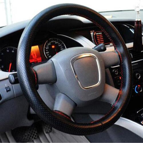 Black+Red PU Leather DIY Car Truck Steering Wheel Cover 15/'/'//38cm Needles Thread