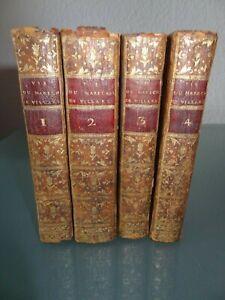 Anciens-livres-Vie-du-Marechal-Duc-de-Villars-1784-4-Volumes-Plans-de-Batailles