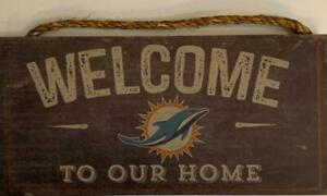 """Miami Dolphins """"Welcome To Our Home"""" Wood Distressed Sign (New) (Slight Imperfection) Canada Preview"""
