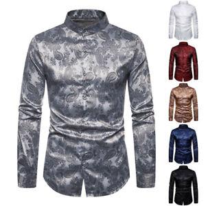 Luxury-Men-039-s-Stylish-Casual-Dress-Shirt-Slim-Fit-Long-Sleeve-Formal-T-Shirt-Tops