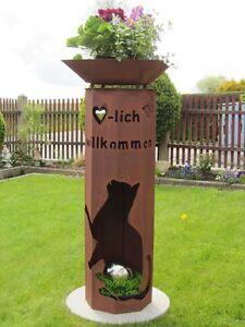 8-Eck-Feuer-Saeule-willkommen-Katze-Edelrost-Rost-Deko-Metall-Garten-Deko-Saeule