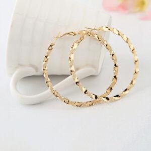 Women-039-s-Fashion-Jewelry-Gold-Plated-Twist-Big-Round-Circle-Dangle-Hoop-Earrings