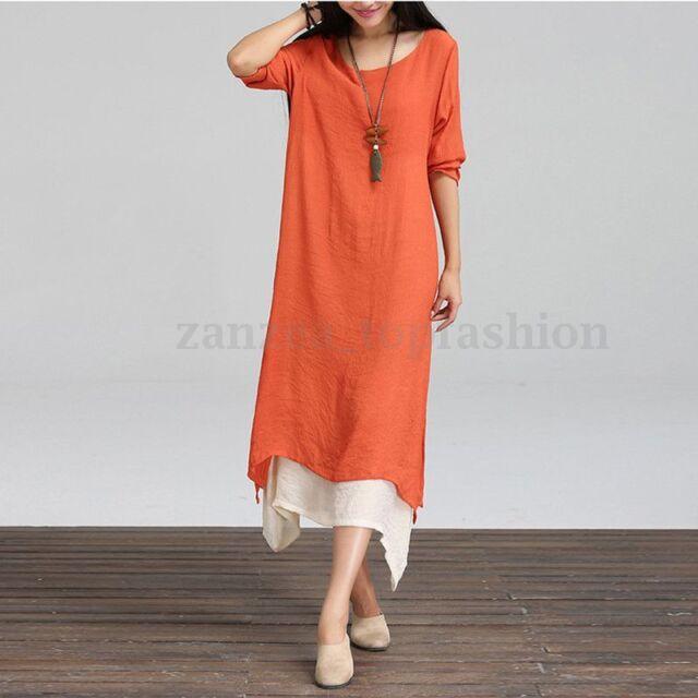 Zanzea Women\'s Casual Loose Shirt Dress Plus Size Summer Shirt Long Maxi  Dress
