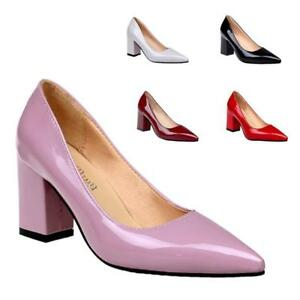 New-Women-Pointed-Toe-High-Block-Heels-Sandals-Simple-Style-Pull-On-Ladies-Shoes