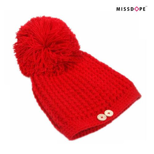 Nouveau big ball fourrure femme chapeau POM POM Ski Cap Knit Beanie nope d/'hiver femme uk