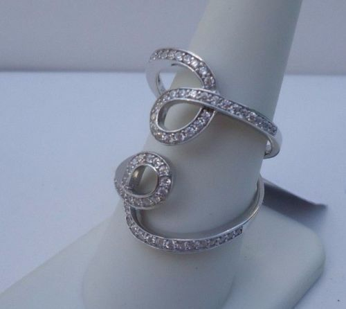 925 STERLING SILVER LADIES DESIGNERS RING W// 2 CT DIAMONDS //SIZE 5,6,7,8,9