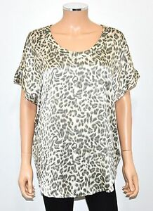 e2f1f168d38bce JOIE Ivory Gray Taupe Leopard Print 100% Silk Loose Fit Short Sleeve ...