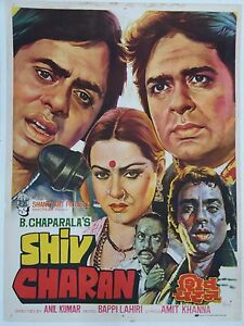 Image is loading INDIAN-VINTAGE-OLD-BOLLYWOOD-MOVIE-POSTER-SHIV-CHARAN-