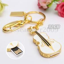 32G 32GB USB 2.0 Crystal Violin Flash Drive Memory Stick Pen Thumb U Disk Gift