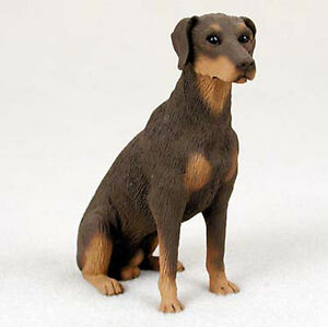 Doberman Pinscher Figurine Hand Painted Statue Red Uncropped