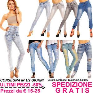 Jeans-Donna-Chiari-Pantaloni-Skinny-Slim-Fit-Elasticizzati-Stretch-Moda-Fashion