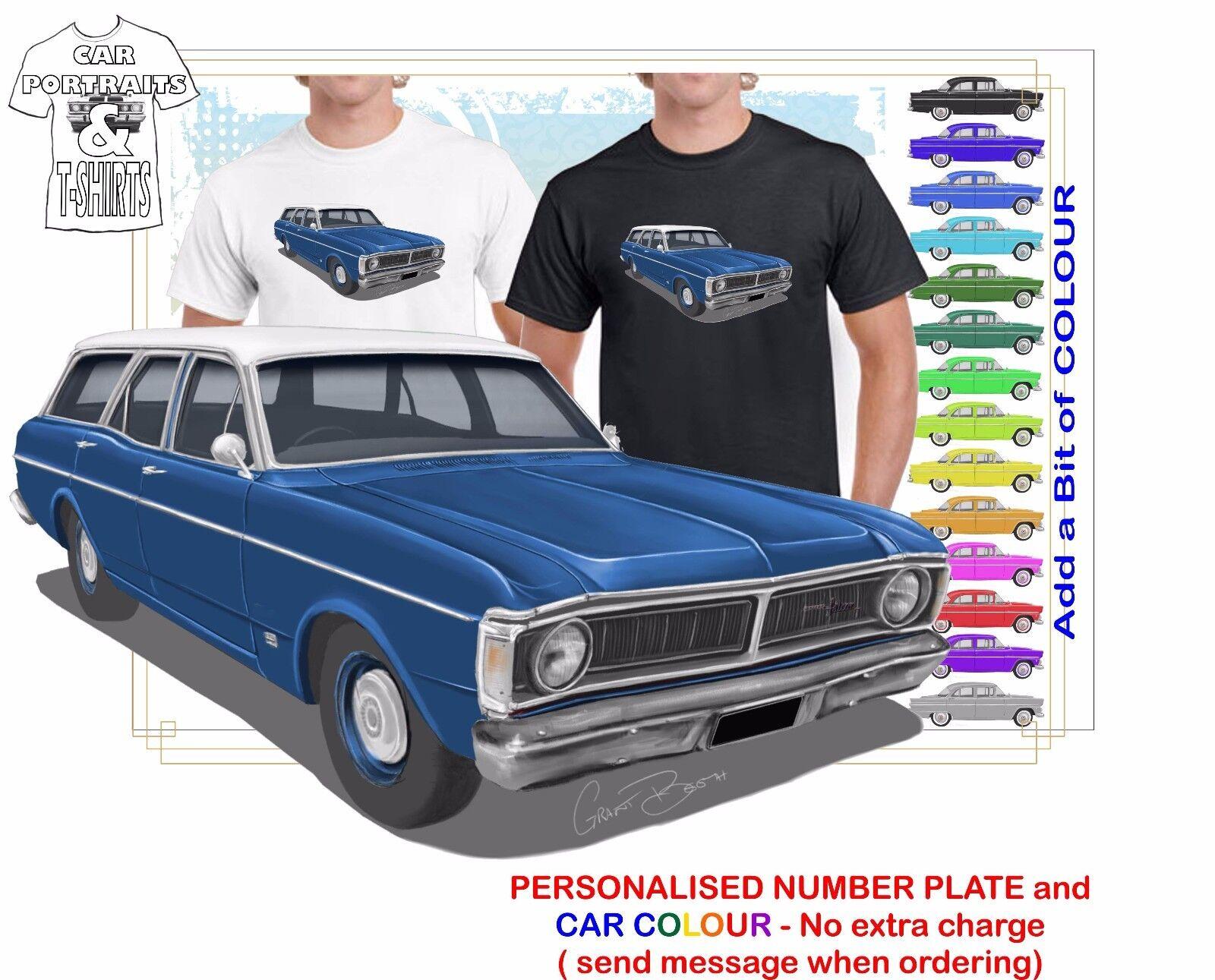 CLASSIC 70-72 XY FALCON WAGON ILLUSTRATED T-SHIRT MUSCLE RETRO SPORT CAR