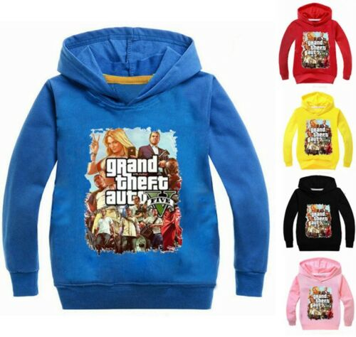 GRAND THEFT AUTO GAME GTA Boys Kids Hooded Tops T-shirt Hoodie Jumper Age 2-10Y