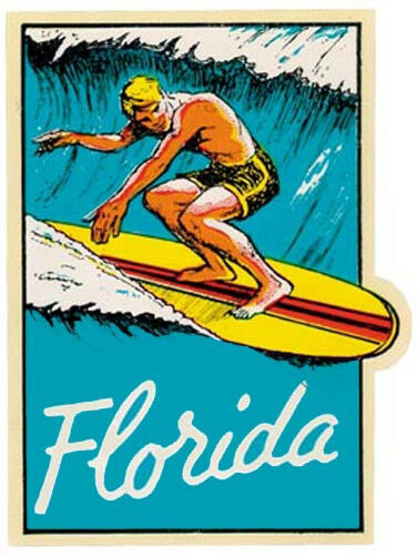 Florida Surfer Dude   Vintage-1950's Style Travel/Surfing  Decal-Sticker